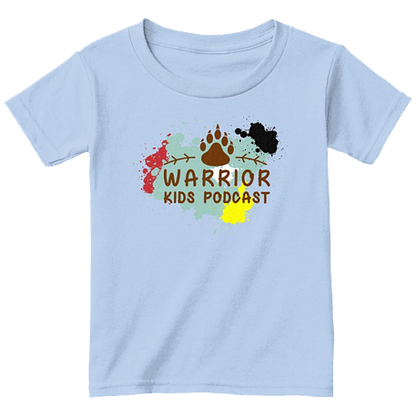 A light blue Warrior Kids Podcast t-shirt.